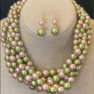 Pink and Green faux pearls